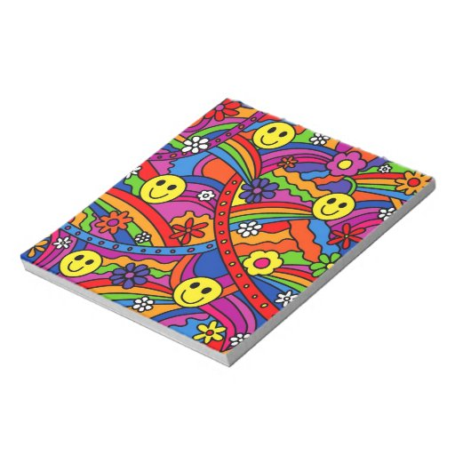Smiley Face Rainbow and Flower Hippy Pattern Memo Note Pads