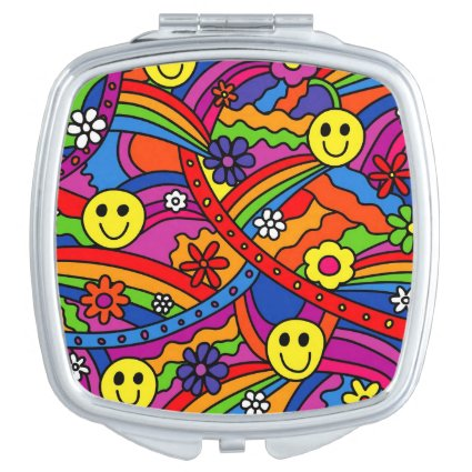 Smiley Face Rainbow and Flower Hippy Pattern Compact Mirrors