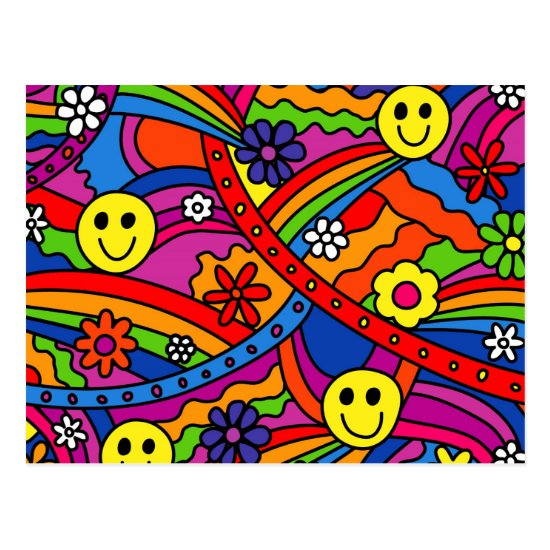Smiley Face Rainbow and Flower Hippy Pattern Postcard