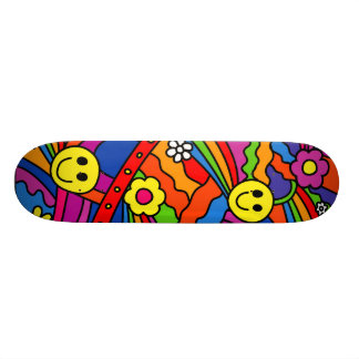 Smiley Face Rainbow and Flower Hippy Pattern Skateboard Deck