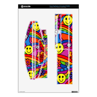 Smiley Face Rainbow and Flower Hippy Pattern Skin For The PS3 Console