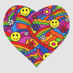 Smiley Face Rainbow and Flower Hippy Pattern Heart Sticker