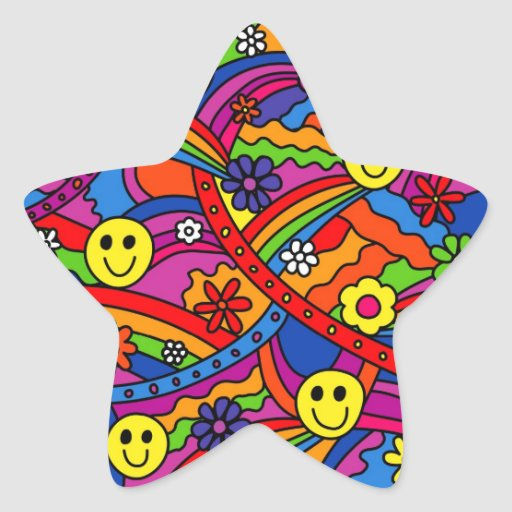 Smiley Face Rainbow and Flower Hippy Pattern Stickers