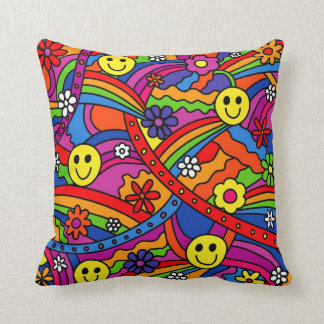 Smiley Face Rainbow and Flower Hippy Pattern Throw Pillow