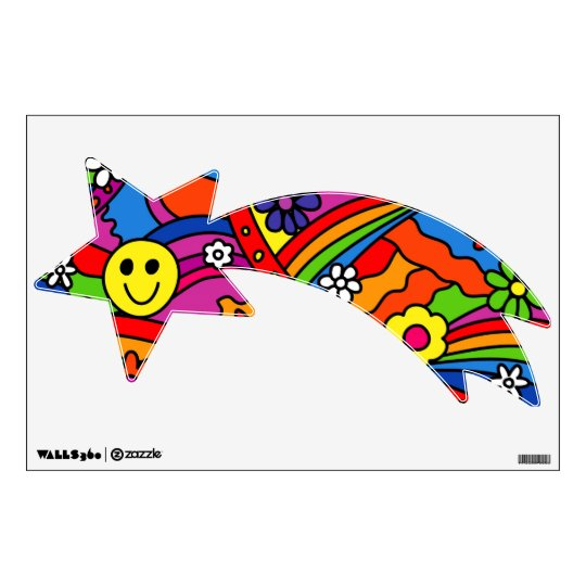 Smiley Face Rainbow and Flower Hippy Pattern Wall Decal