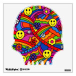 Smiley Face Rainbow and Flower Hippy Pattern Wall Decor