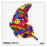 Smiley Face Rainbow and Flower Hippy Pattern Room Sticker