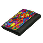 Smiley Face Rainbow and Flower Hippy Pattern Wallets