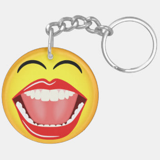 Smiley Face Round Double Sided Acrylic Keychain