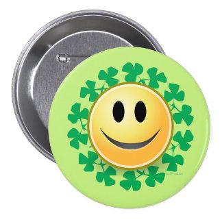 Smiley Face Shamrock St. Patricks Day Button