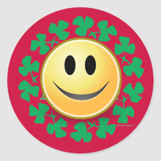 Smiley Face Shamrock Wreath Stickers (Red)