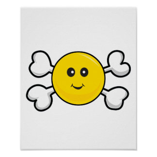 smiley face Skull and Crossbones Print