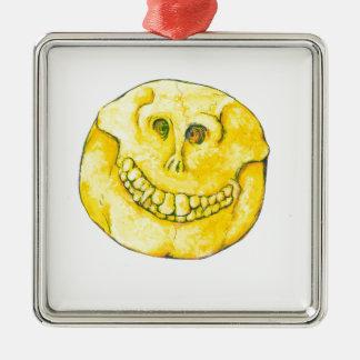 Smiley Face Skull Metal Ornament