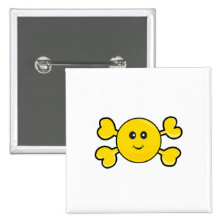 smiley face Skull yellow Crossbones Pinback Buttons