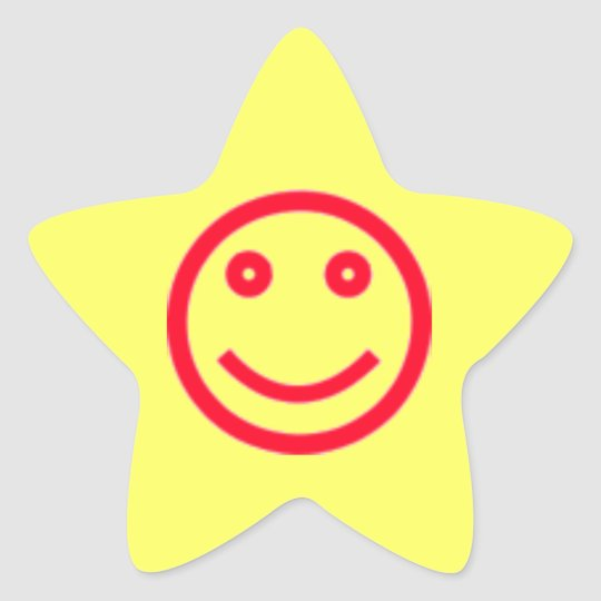 Smiley face star sticker