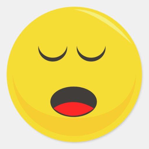 Smiley Face Sticker (Sleepy) | Zazzle