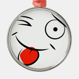 Smiley face sticking tongue out. Raspberry face Metal Ornament