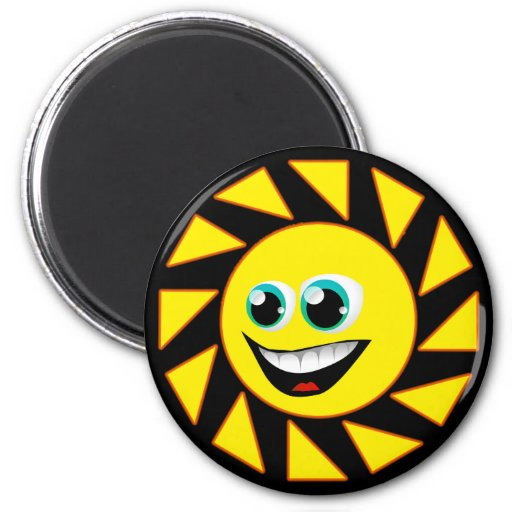 SMILEY FACE SUN 2 INCH ROUND MAGNET