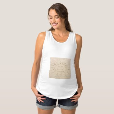 Beach Themed Smiley face sunshine drawing in sand maternity top
