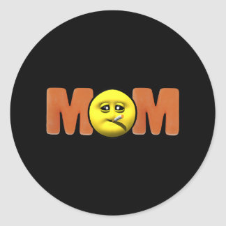 Smiley Face T-shirts and Gifts For Mom Classic Round Sticker