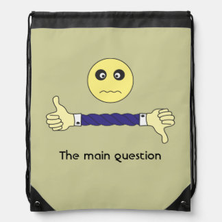 smiley face The main question Custom Drawstring Backpacks