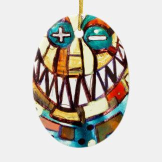 smiley face & the T Ceramic Ornament