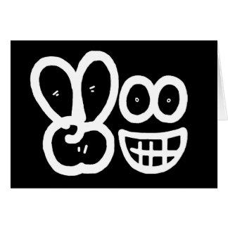 Smiley Face V Finger Card (Black)