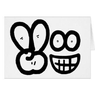 Smiley Face V Finger Card (white)