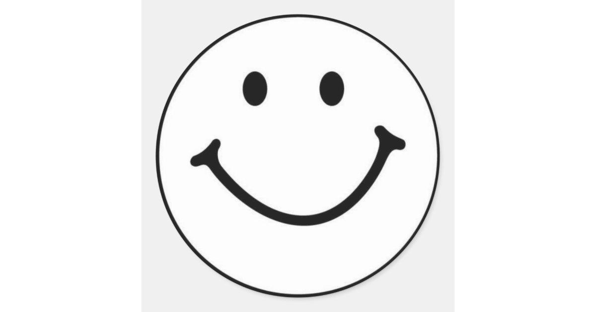 Smiley Face White Sticker | Zazzle.com