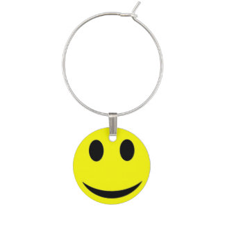 smiley face wine glass charm