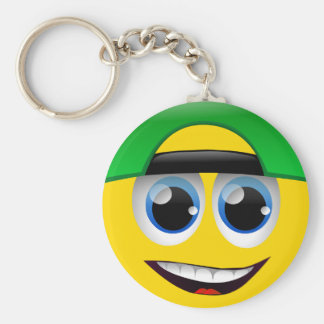 SMILEY FACE WITH BACKWARDS CAP KEYCHAIN