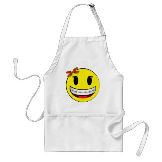 Smiley face with braces - girl adult apron