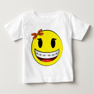 Smiley face with braces - girl baby T-Shirt