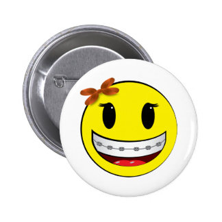 Smiley face with braces - girl pinback button