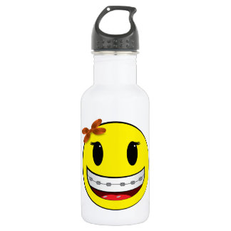 Smiley face with braces - girl water bottle