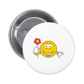Smiley Face with Flower Pinback Button