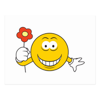 Smiley Face with Flower Postcard