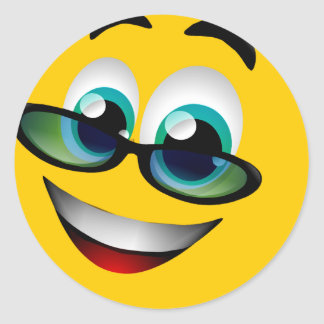 SMILEY FACE WITH GLASSES CLASSIC ROUND STICKER