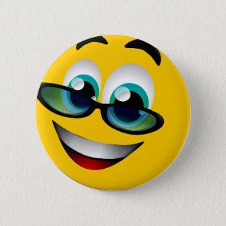 SMILEY FACE WITH GLASSES PINBACK BUTTON