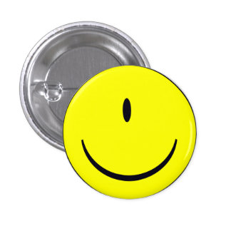 Smiley Face With One Eye Funny Button Badge