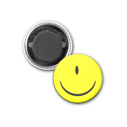 Smiley Face With One Eye Funny Button Badge Magnet