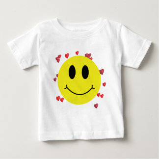 Smiley Face with Red Hearts Baby T-Shirt