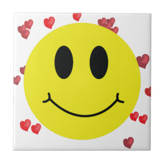 Smiley Face with Red Hearts Ceramic Tile
