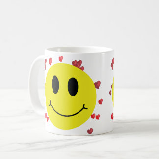 Smiley Face with Red Hearts Coffee Mug