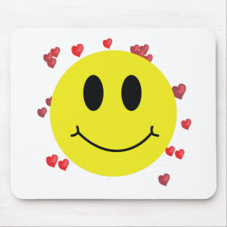 Smiley Face with Red Hearts Mouse Pad