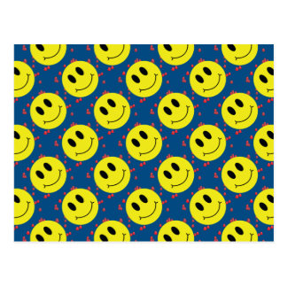 Smiley Face with Red Hearts Postcard