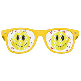 Smiley Face with Red Hearts Retro Sunglasses