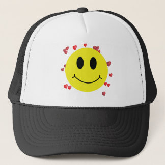 Smiley Face with Red Hearts Trucker Hat