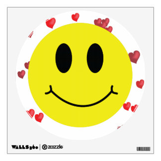 Smiley Face with Red Hearts Wall Sticker