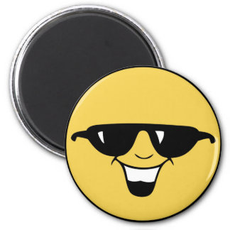 Smiley Face with Shades 2 Inch Round Magnet
